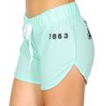 Wholesale R20C 1983 print drawstring french terry shorts Heather Mint/Black
