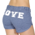 Wholesale R31D LOVE print drawstring french terry shorts Heather Denim/White