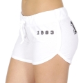 Wholesale R20C 1983 print drawstring french terry shorts White/Black