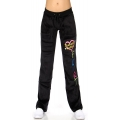 wholesale H37 Embroidered cotton velour pant Black