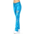 wholesale H37 Embroidered cotton velour pant Turquoise