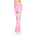 wholesale H37 11 Embroidered cotton velour pants Coral