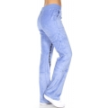 wholesale H37 11 Embroidered cotton velour pants Blue