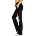 wholesale K57 12 Cotton velour pants with print Black