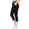 Wholesale O49B Solid drawstring velour capri jogger Black