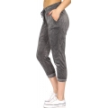 Wholesale O49B Solid drawstring velour capri jogger H.Charcoal