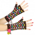 wholesale Multicolored hearts and pompom arm warmer Brown