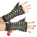 wholesale Multicolored hearts and pompom arm warmer Grey