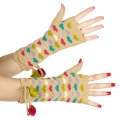 wholesale Multicolored hearts and pompom arm warmer Beige