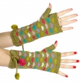 wholesale Multicolored hearts and pompom arm warmer Green