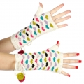 wholesale Multicolored hearts and pompom arm warmer Ivory