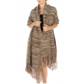 Wholesale T03 Oversized marled tassel knit scarf Brown