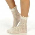 wholesale N01 Cotton crochet lace top ankle socks Ivory