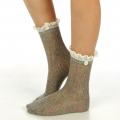 wholesale N01 Cotton crochet lace top ankle socks L.Grey