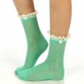 wholesale N01 Cotton crochet lace top ankle socks Mint