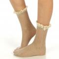 wholesale N01 Cotton crochet lace top ankle socks Oatmeal