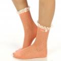 wholesale N01 Cotton crochet lace top ankle socks Peach