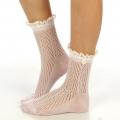 wholesale N01 Cotton crochet lace top ankle socks Pink
