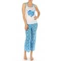 wholesale K52 Flower print cotton pajama set Blue