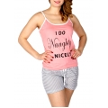 Wholesale Q17-1D NAUGHTY print PJ tank & shorts set Pink