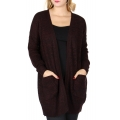 Wholesale T63D Solid open knit cardigan Eggplant