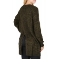 Wholesale T63D Solid open knit cardigan Olive