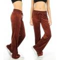 Wholesale M27 Solid velour active pants Brown