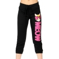 Wholesale B18 Ladies French terry crop Pants (meow) Black