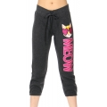 Wholesale C22 Ladies French terry crop Pants (meow) Charcoal