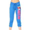 Wholesale B08 Ladies French terry crop Pants (meow) Blue