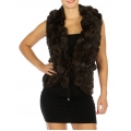 Wholesale N01 Pompom fur vest Brown fashionunic