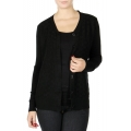 Wholesale T11C Brushed V neck cardigan Black