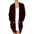Wholesale P02A Open front marled cardigan Burgundy
