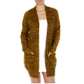 Wholesale P02A Open front marled cardigan Mustard