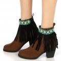 wholesale N46 Indian leather look fringed anklet Black