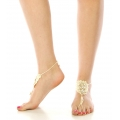 wholesale N40 Clear stone bohemian crochet anklet Ivory