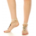 wholesale N46 Beaded cross anklet Ivory fashionunic