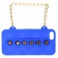 wholesale N38 Studded silicone cell phone case purse Blue