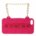 wholesale N38 Studded silicone cell phone case purse Fuschia