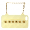 wholesale N38 Studded silicone cell phone case purse Ivory