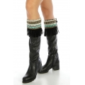 Wholesale Q04 Embellished faux suede boot cuff Black