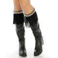 Wholesale Q04 Long faux suede boot cuff Black