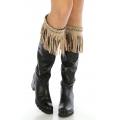 Wholesale Q04 Long faux suede boot cuff Beige