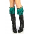 wholesale Long faux suede boot cuff Turquoise fashionunic