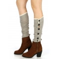 wholesale O04 Crochet lace open knit buttons leg warmers Grey