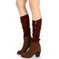 wholesale O04 Crochet lace open knit buttons leg warmers Red