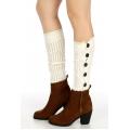 Wholesale O08 Crochet lace open knit buttons leg warmers White