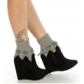 Wholesale T05 Ribbed ankle crochet boot cuff Grey