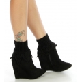 Wholesale T05 Ribbed ankle crochet boot cuff Black