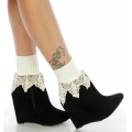 Wholesale T05 Ribbed ankle crochet boot cuff White